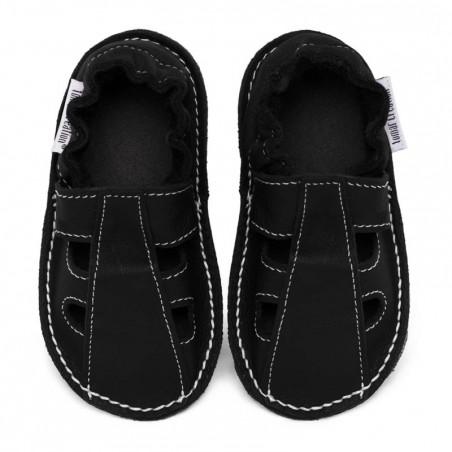 P'tites Gommes été Noire, semelle caoutchouc, chaussure cuir souple