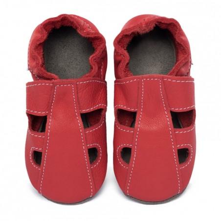 Chaussons cuir souple été Rouge feu (perforés)