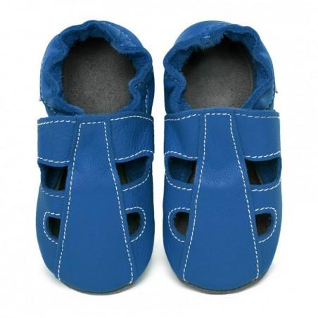 Chaussons cuir souple été Bleu jeans (perforés)