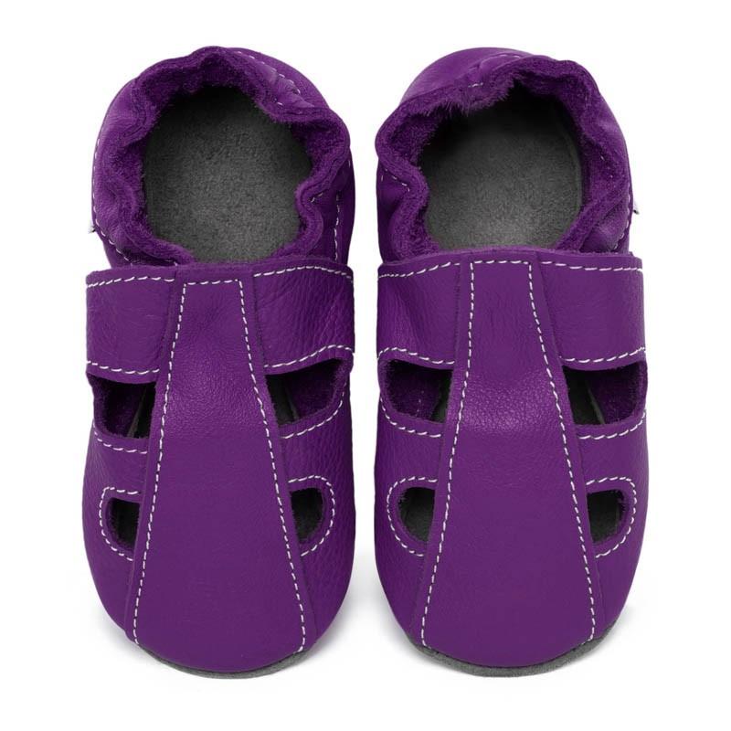 Chaussons cuir souple été Violet (perforés)