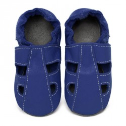 Chaussons cuir souple été Bleu roi (perforés)