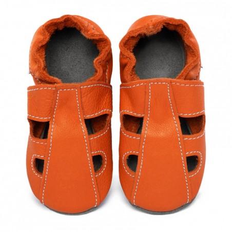 Chaussons cuir été Orange Volcan (perforés)