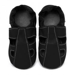 Chaussons cuir souple été Noir (perforés)