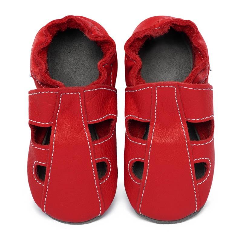Chaussons cuir souple été Rouge (perforés)