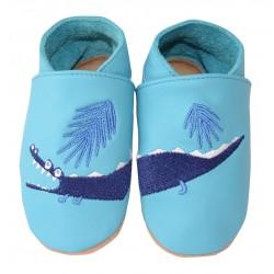 Chaussons cuir bébé Crocodile bleu