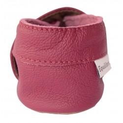 Chaussons cuir bébé Chouette rose
