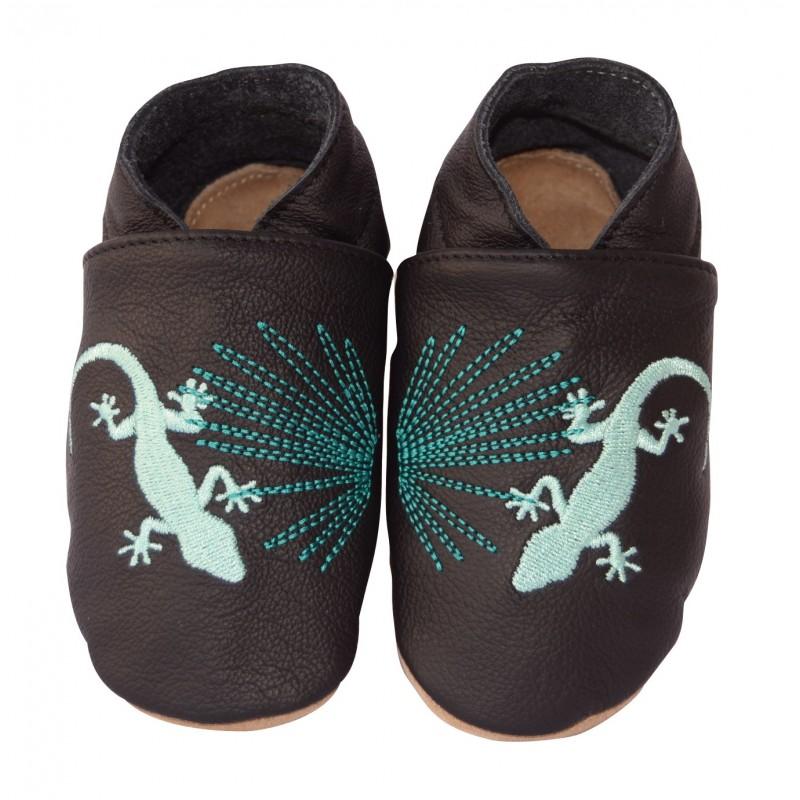 Chaussons cuir bébé Gecko