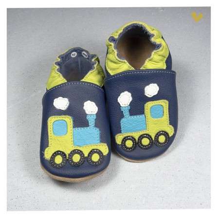 Chaussons cuir souple train fond bleu
