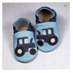 Chausson cuir souple tracteur fond bleu ciel