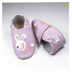 Chausson cuir souple lapin fond lilas
