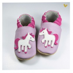 Chausson cuir souple Poney fond rose