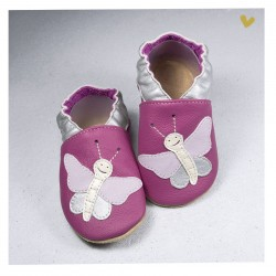 Chausson cuir souple Papillon fond violet