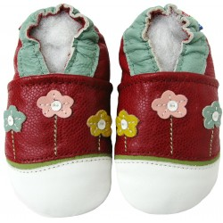 Chaussons cuir fille Carozoo fleurs fond rouge