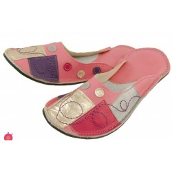 Chaussons cuir adulte Patchwork fond rose