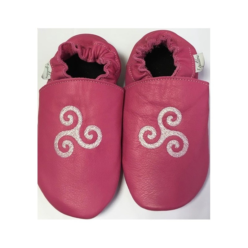 Chaussons cuir FOURRES adulte Triskel fond rose