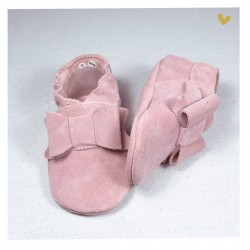 Chaussons cuir souple Noeud rose