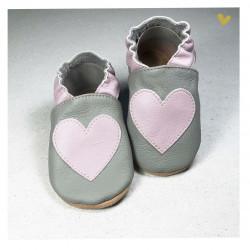 Chausson cuir souple coeur fond gris