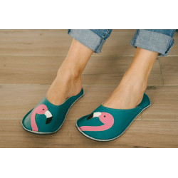 Chaussons cuir adulte Flamant rose