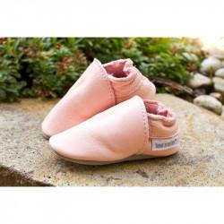 Chaussons cuir souple tannage végétal Baby rosa