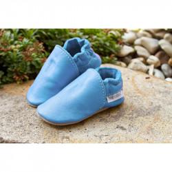 Chaussons cuir souple tannage végétal Baby Blue