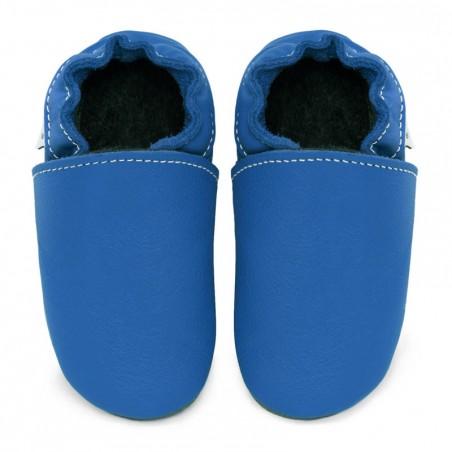 Chaussons cuir bébé Bleu jeans