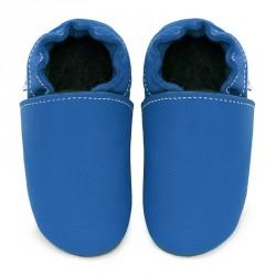 Chaussons cuir FOURRES bébé Bleu jeans