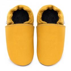 Chaussons cuir FOURRES bébé Jaune