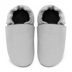 Chaussons cuir FOURRES bébé Gris clair