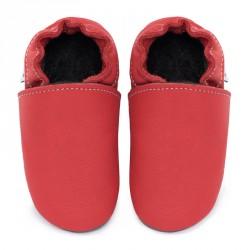 Chaussons cuir FOURRES bébé Rouge feu