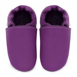 Chaussons cuir souple bébé Violet