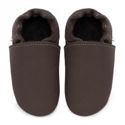 Chaussons cuir souple bébé Taupe