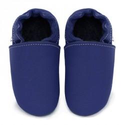 Chaussons cuir FOURRES bébé Bleu roi