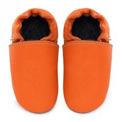 Chaussons cuir FOURRES bébé Orange Volcan