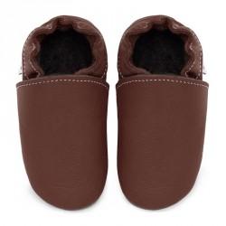Chaussons cuir souple bébé Marron