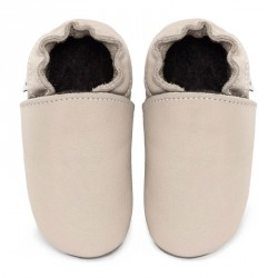 Chaussons cuir bébé Crème