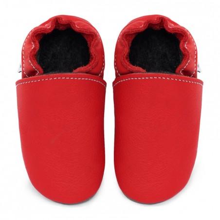 Chaussons cuir FOURRES bébé Rouge Santa Claus