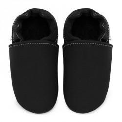 Chaussons cuir bébé Noir