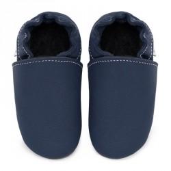 Chaussons cuir souple bébé Bleu ardoise