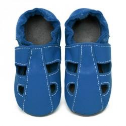 Chaussons cuir bébé été Bleu jeans (perforés)