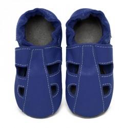 Chaussons cuir bébé été Bleu roi (perforés)