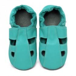 Chaussons cuir souple bébé été Bleu/Caraïbe