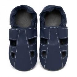 Chaussons cuir bébé été Bleu ardoise (perforés)