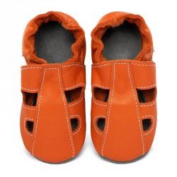 Chaussons cuir bébé été Orange Volcan (perforés)