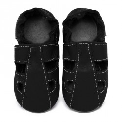 Chaussons cuir bébé été Noir (perforés)
