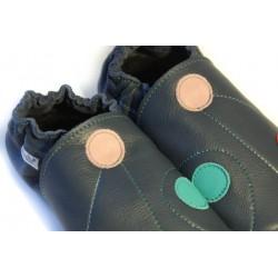 Chaussons cuir adulte Pois fond bleu