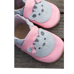 Chausson cuir souple Chat fond rose clair