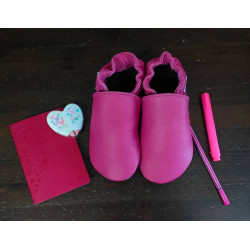 Chaussons cuir FOURRES adulte Rose fushia