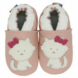Chaussons cuir bébé Carozoo Chat fond rose