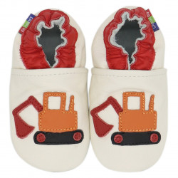 Chaussons cuir bébé Carozoo Tractopelle