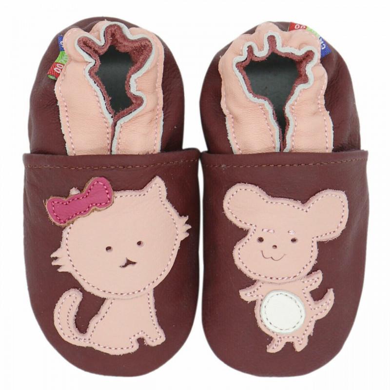 Chaussons cuir bébé Carozoo Chat souris
